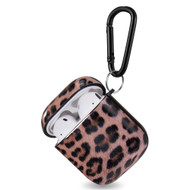 Designer Hard Shell Protective Case with Carabiner Clip for Apple AirPods - Leopard