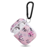 Designer Hard Shell Protective Case with Carabiner Clip for Apple AirPods - Pink Floral