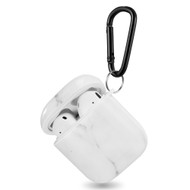 Designer Hard Shell Protective Case with Carabiner Clip for Apple AirPods - Marble White