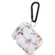 Designer Hard Shell Protective Case with Carabiner Clip for Apple AirPods - White Floral