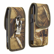 Ballistic Nylon Vertical Hip Pouch Phone Case with Carabiner Clip - Camouflage