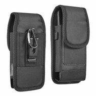 Ballistic Nylon Vertical Hip Pouch Phone Case with Carabiner Clip - Black 73540