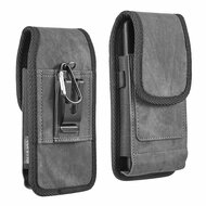 Premium Canvas Fabric Vertical Hip Pouch Phone Case with Carabiner Clip - Black 73564