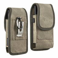 Premium Canvas Fabric Vertical Hip Pouch Phone Case with Carabiner Clip - Brown 73588