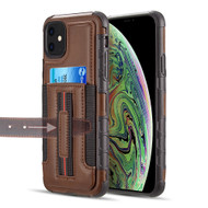 Travel Light Hybrid Card Case with Finger Loop for iPhone 11 - Brown