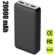 Quick Charge 3.0 USB-C PD Power Delivery Portable Power Bank Battery Pack Triple USB Charger 20000mAh - Black