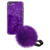 Liquid Glass Finish Pomzie Hybrid Case with Faux Fur Pom Pom Hand Strap for iPhone 8 Plus / 7 Plus - Purple Amethyst