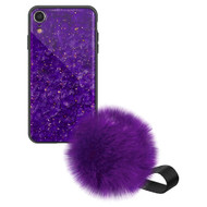 Liquid Glass Finish Pomzie Hybrid Case with Faux Fur Pom Pom Hand Strap for iPhone XR - Purple Amethyst