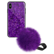 Liquid Glass Finish Pomzie Hybrid Case with Faux Fur Pom Pom Hand Strap for iPhone XS Max - Purple Amethyst