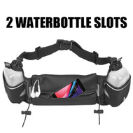 Fanny Waist Pack Pocket Belt with 2 Water Bottles - Black