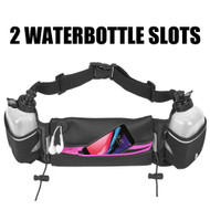 Fanny Waist Pack Pocket Belt with 2 Water Bottles - Black Hot Pink