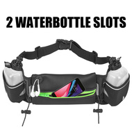 Fanny Waist Pack Pocket Belt with 2 Water Bottles - Black Green