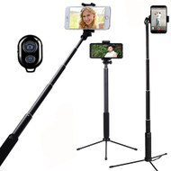 Selfie Stick with Tripod and Bluetooth Wireless Remote Shutter Button - Black