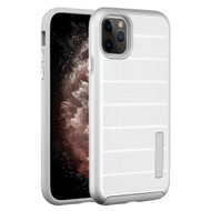 Haptic Dots Texture Anti-Slip Hybrid Armor Case for iPhone 11 Pro Max - Silver