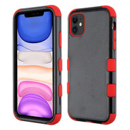 Military Grade Certified TUFF Hybrid Armor Case for iPhone 11 - Black Red