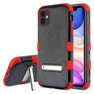 Military Grade Certified TUFF Hybrid Armor Case with Kickstand for iPhone 11 - Black Red