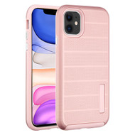 Haptic Dots Texture Anti-Slip Hybrid Armor Case for iPhone 11 - Rose Gold