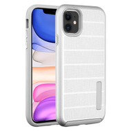 Haptic Dots Texture Anti-Slip Hybrid Armor Case for iPhone 11 - Silver