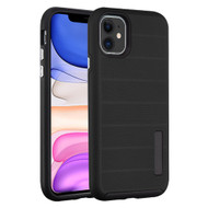 Haptic Dots Texture Anti-Slip Hybrid Armor Case for iPhone 11 - Black