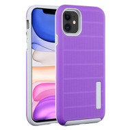 Haptic Dots Texture Anti-Slip Hybrid Armor Case for iPhone 11 - Purple