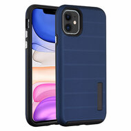 Haptic Dots Texture Anti-Slip Hybrid Armor Case for iPhone 11 - Navy Blue