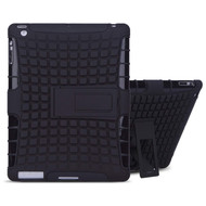 Advanced Armor Hybrid Kickstand Case and Screen Protector for iPad (2nd, 3rd and 4th Generation) - Black