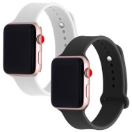 *SALE* 2-Pack Sport Silicone Band Watch Strap for Apple Watch 44mm / 42mm - Black and White