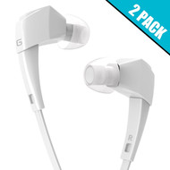 *SALE* 2-Pack Premium Hi-Fi Stereo Sound Earphones with In-Line Microphone - White