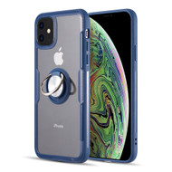 RoboTech Ultra Hybrid Case with 360° Rotating Ring Holder for iPhone 11 - Navy Blue