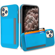 Poket Credit Card Hybrid Armor Case for iPhone 11 Pro Max - Blue