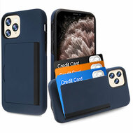 Poket Credit Card Hybrid Armor Case for iPhone 11 Pro Max - Navy Blue