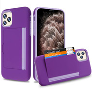 Poket Credit Card Hybrid Armor Case for iPhone 11 Pro Max - Purple
