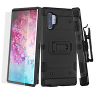 3-IN-1 Military Grade Certified Storm Tank Case + Holster + Screen Protector for Samsung Galaxy Note 10 Plus - Black