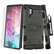 3-IN-1 Military Grade Certified Storm Tank Case + Holster + Screen Protector for Samsung Galaxy Note 10 Plus - Dark Grey