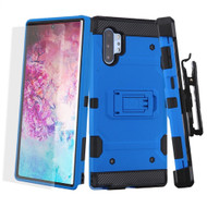 Military Grade Certified Storm Tank Case + Holster + Screen Protector for Samsung Galaxy Note 10 Plus - Blue