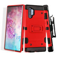 3-IN-1 Military Grade Certified Storm Tank Case + Holster + Screen Protector for Samsung Galaxy Note 10 Plus - Red
