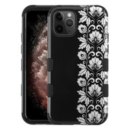Military Grade Certified TUFF Hybrid Armor Case for iPhone 11 Pro Max - Floral Silver