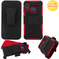 Advanced Armor Hybrid Kickstand Case with Holster Belt Clip for Samsung Galaxy A10e - Red