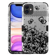 Military Grade Certified TUFF Hybrid Armor Case for iPhone 11 - Lace Flowers Silver