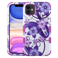 Military Grade Certified TUFF Hybrid Armor Case for iPhone 11 - Purple Hibiscus Flower Romance