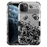Military Grade Certified TUFF Hybrid Armor Case for iPhone 11 Pro - Lace Flowers Silver