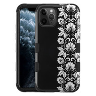 Military Grade Certified TUFF Hybrid Armor Case for iPhone 11 Pro - Floral Silver