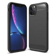 Brushed Metal Design Rugged Armor Case for iPhone 11 Pro Max - Black