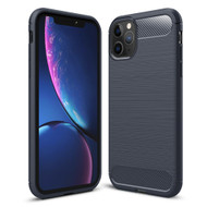 Brushed Metal Design Rugged Armor Case for iPhone 11 Pro Max - Navy Blue