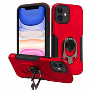 Multifunctional Hybrid Case with 360° Bottle Opener Rotating Ring Holder Kickstand for iPhone 11 - Red