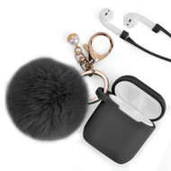 Silicone Protective Case with Anti-Lost Strap and Faux Fur Pom Pom Keychain for Apple AirPods - Black