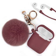 Silicone Protective Case with Anti-Lost Strap and Faux Fur Pom Pom Keychain for Apple AirPods - Burgundy