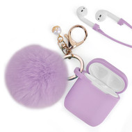 Silicone Protective Case with Anti-Lost Strap and Faux Fur Pom Pom Keychain for Apple AirPods - Lavender