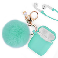 Silicone Protective Case with Anti-Lost Strap and Faux Fur Pom Pom Keychain for Apple AirPods - Baby Blue