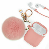 Silicone Protective Case with Anti-Lost Strap and Faux Fur Pom Pom Keychain for Apple AirPods - Pink
